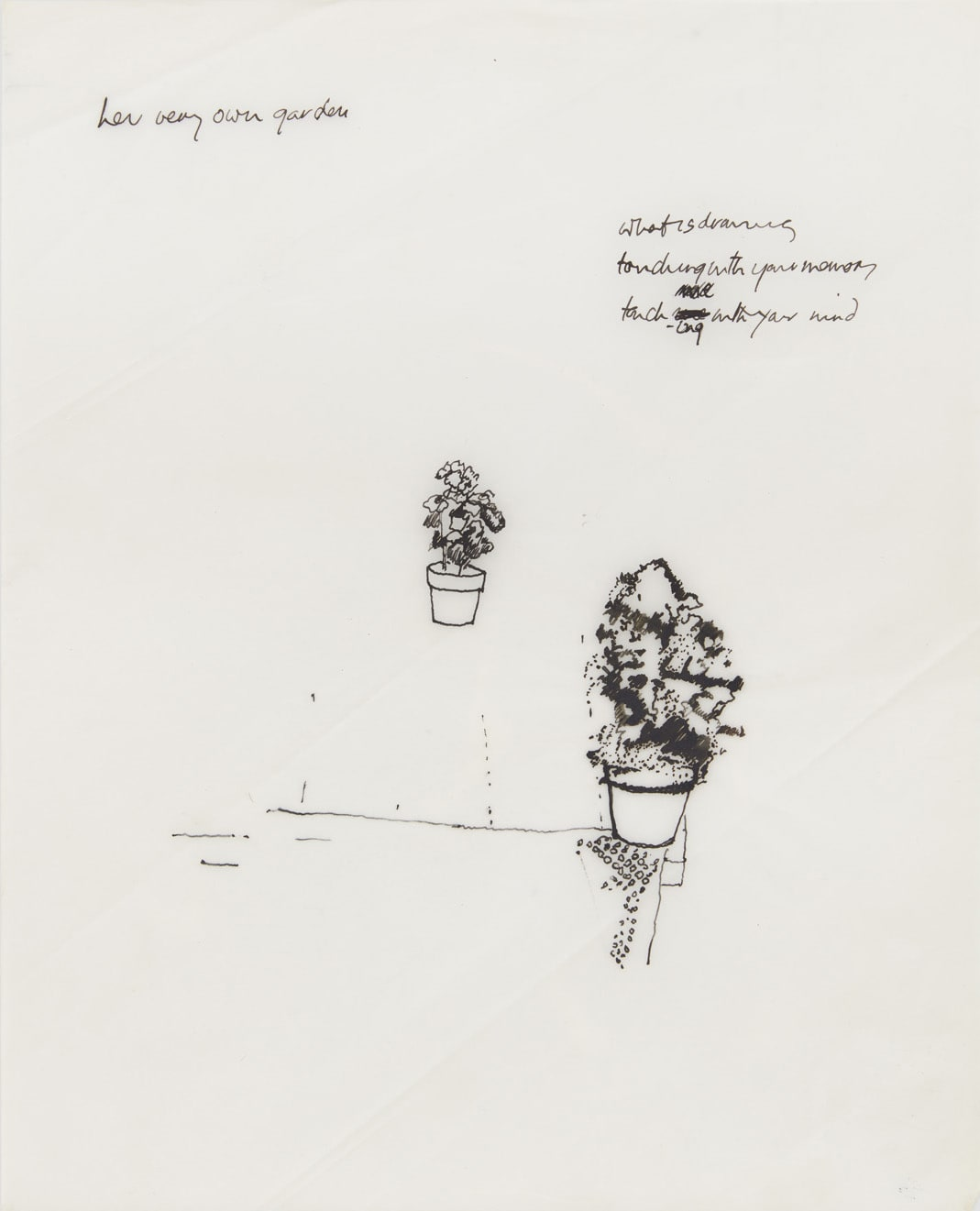 Shelagh WAKELY her very own garden, 1974-79 Ink on translucent paper, needle 25 x 20 cm