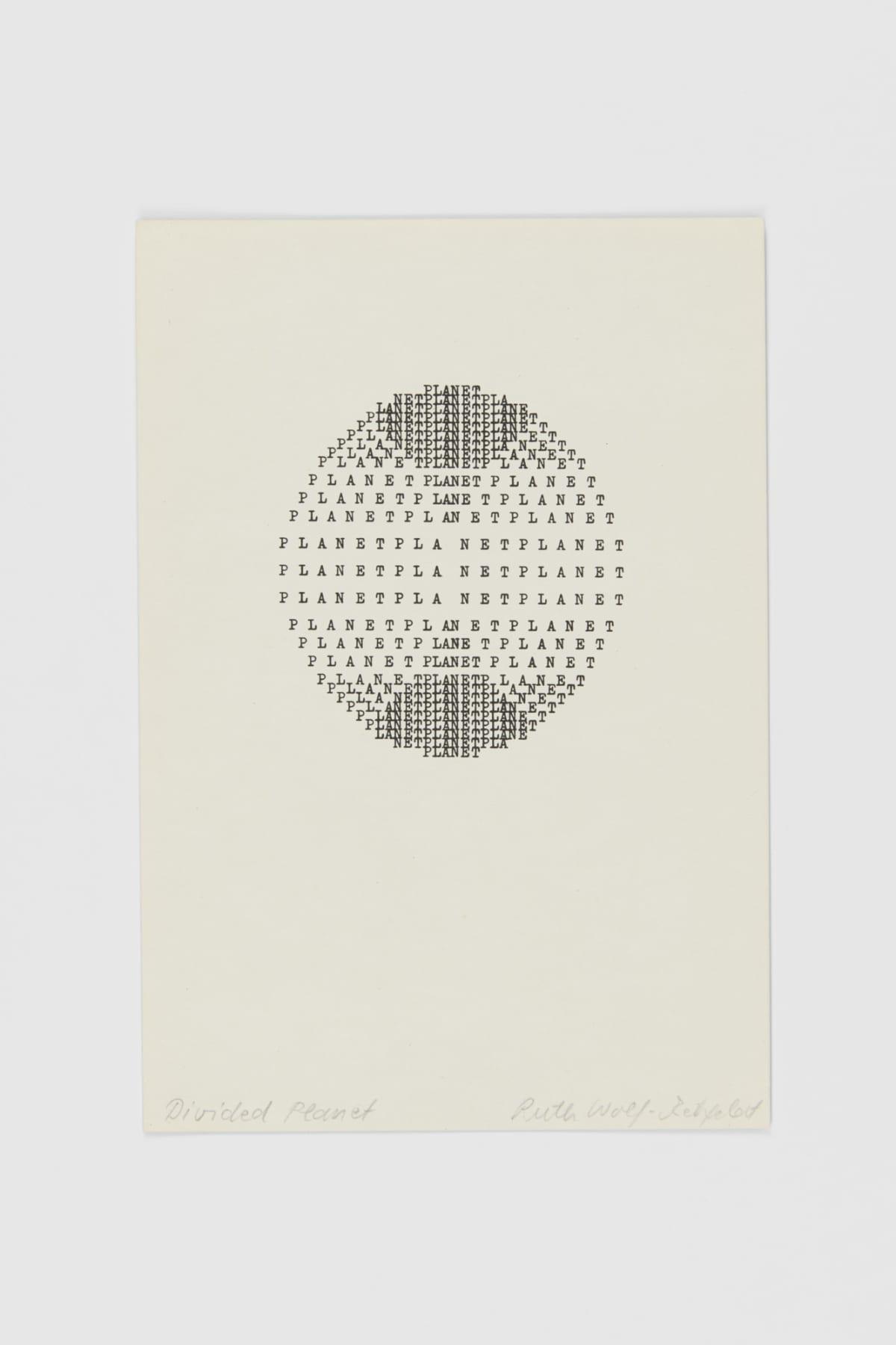 Ruth WOLF-REHFELDT Divided Planet., 1980 print (zinc lithograph) 21.6 x 14.9 cm