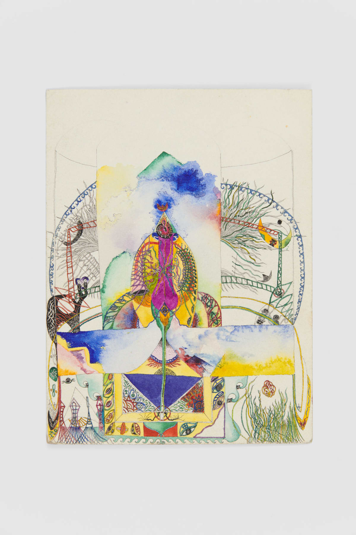 Ann CHURCHILL Coloured drawing (to create the temple with heart), 1976 Ink on paper 23.6 x 17.8 cm