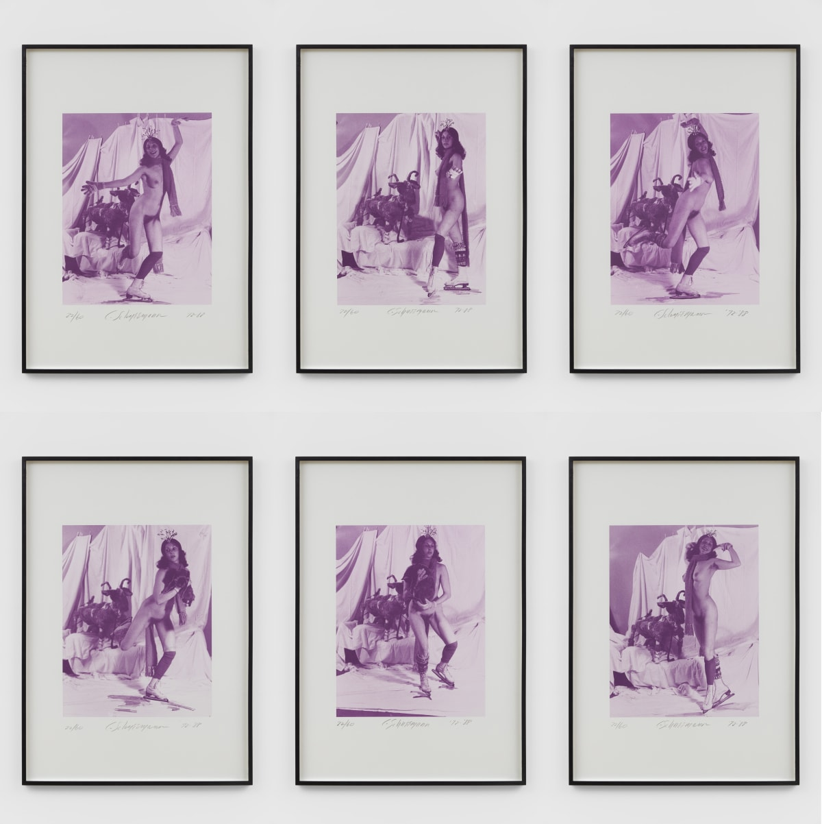Carolee SCHNEEMANN Ice Naked Skating, 1972/1988 Set of 6 photo-lithographs 100 x 70 cm Edition 22 of 60 + 4 AP