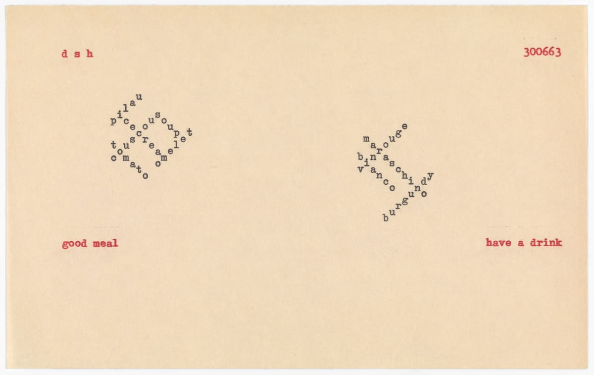 Dom Sylvester HOUEDARD 300663 (good meal, have a drink), 1963 Page (typed, typed coloured) 12.8 x 20.3 cm
