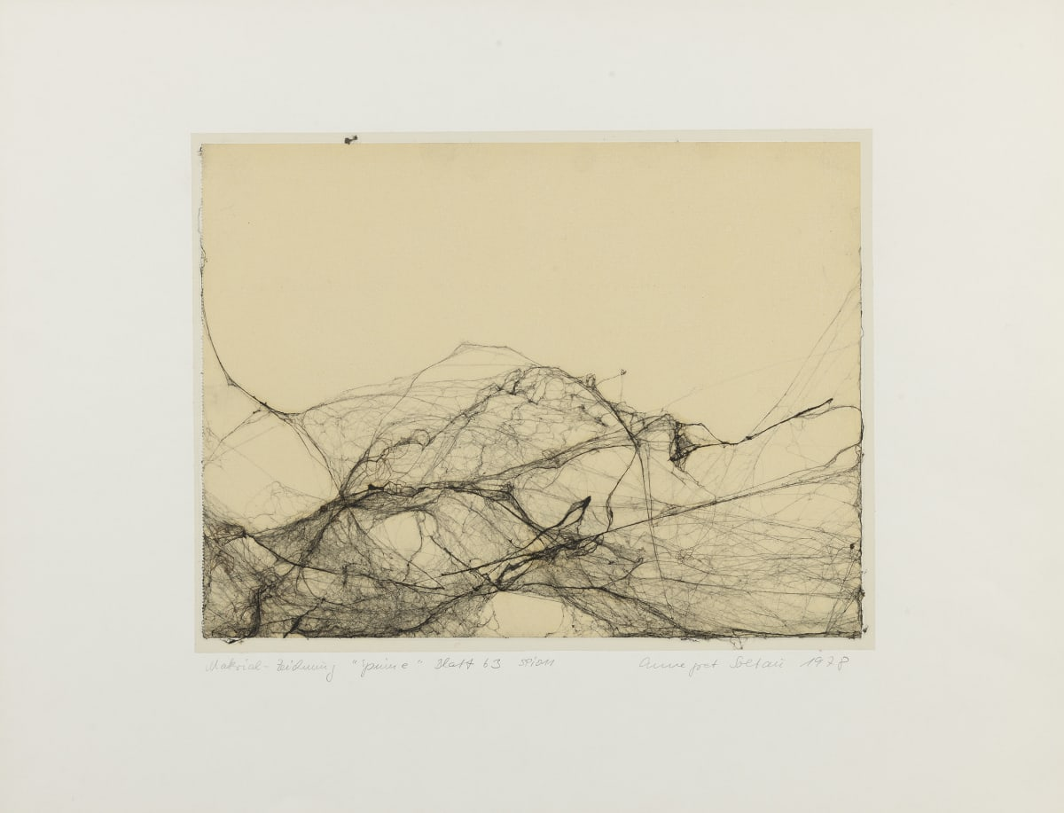 Annegret SOLTAU Spinne (Spider), 1978 Drawing with spider web under plastic foil on paper Mounted: 50 x 65 cm Image: 30 x 40 cm Unique
