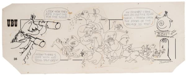 Franciszka THEMERSON Comic strip 35 (of 90), 1970 ink and pen on paper, collage Framed: 46 x 102 cm Image size: 36 x 90 cm