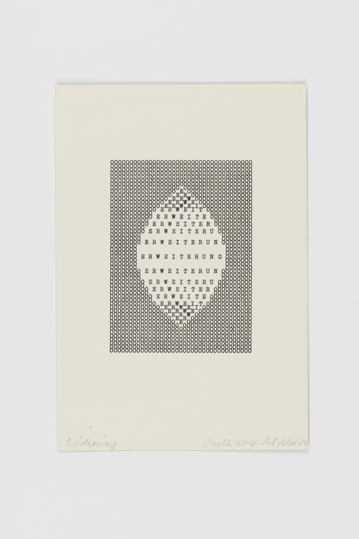 Ruth WOLF-REHFELDT Widening, 1980 print (zinc lithograph) 21.6 x 14.8 cm