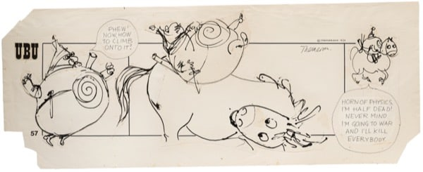 Franciszka THEMERSON Comic strip 57 (of 90), 1970 ink and pen on paper, collage Framed: 46 x 102 cm Image size: 36 x 90 cm