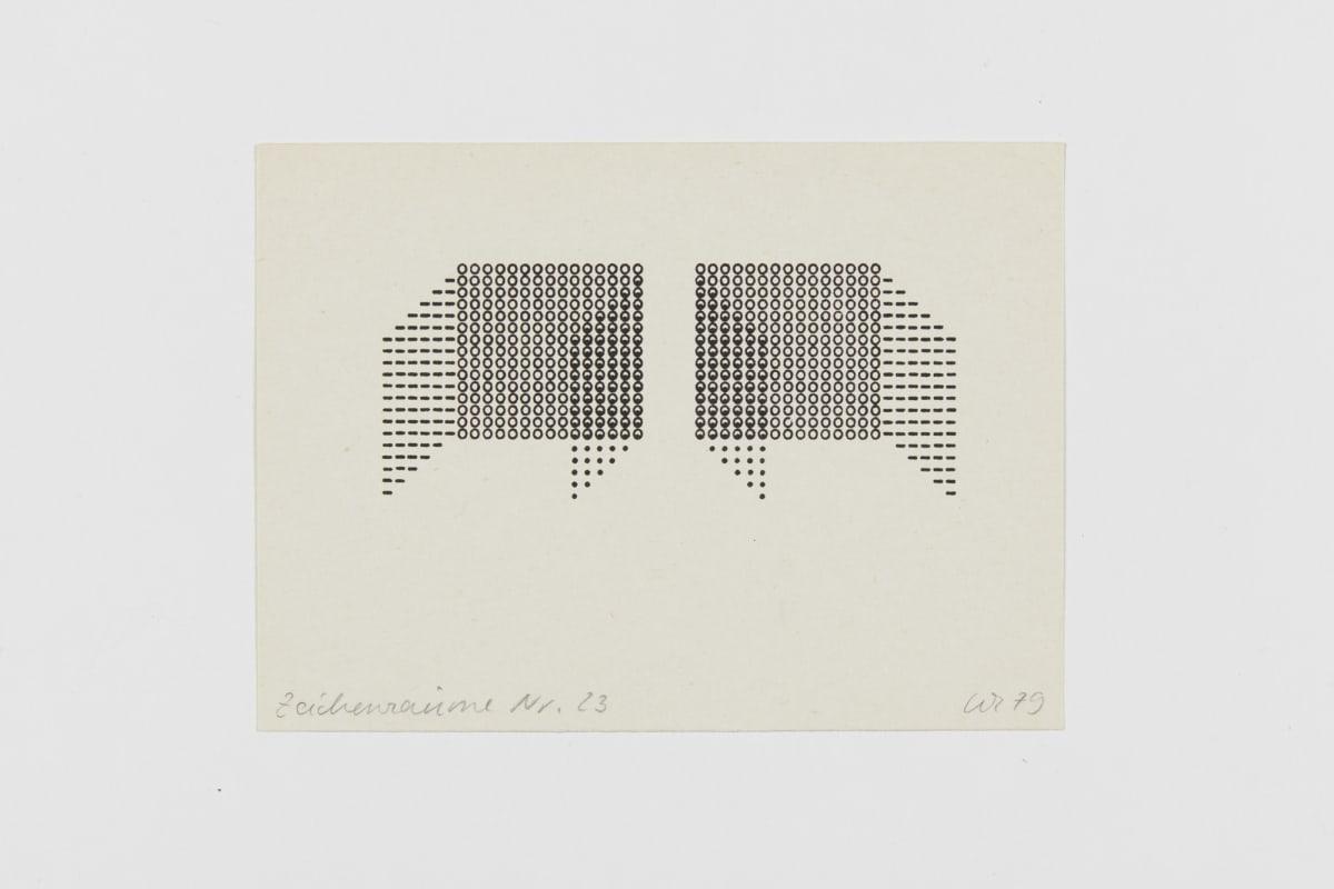 Ruth WOLF-REHFELDT Zeichenraume Nr. 23, 1979 card (zinc lithograph) 10.5 x 14.5 cm