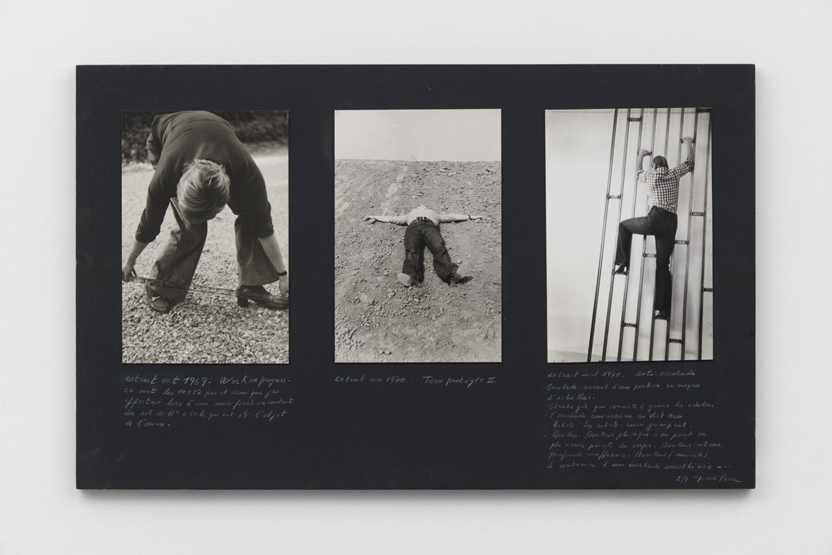 Gina PANE Extraits, 1969-71 Work in progress. Extrait octobre, 1969 Terre protégée II. Extrait mai, 1970 Auto-escalade. Extrait avril, 1971 Three vintage silver prints laminated on board, mounted on black wood panel with the artist's handwritten text Each sheet: 30 x 19.5 cm Panel: 50 x 80 cm