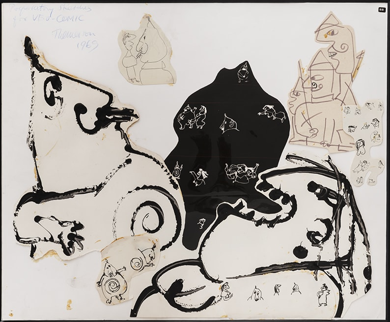 Franciszka THEMERSON Père at Mère Ubu, Comic Strip Studies, 1969 ink, pencil and paint on paper, collage Framed: 68 x 79 cm Inside frame: 52 x 62 cm