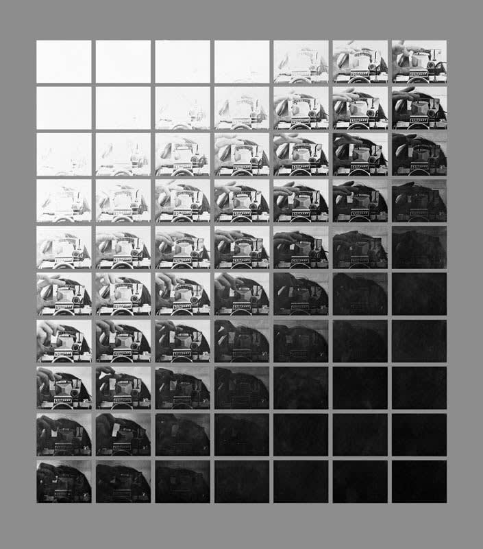 John HILLIARD Camera Recording its own Condition (7 Apertures, 10 Speeds, 2 Mirrors) (1971), 2013 Digital pigment print on grey museum board. 61 x 56 cm Edition 1 of 5