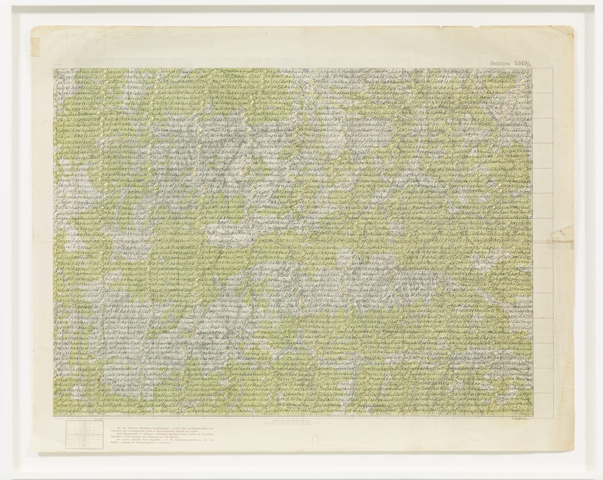 Greta SCHÖDL Untitled, c. 1970 Ink and gold leaf on ancient map 76.6 x 95.2 cm 30 1/8 x 37 1/2 in