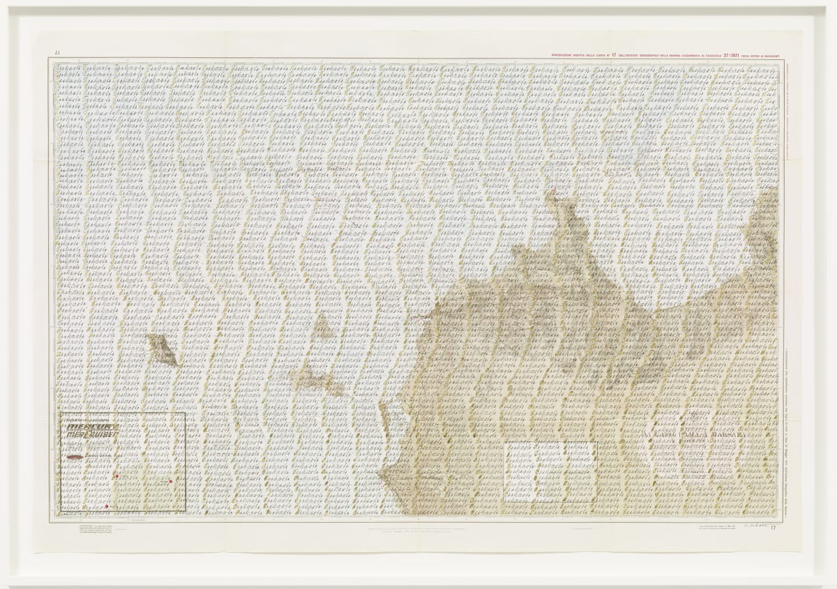 Greta SCHÖDL Untitled, c. 1970 Ink and gold leaf on ancient map 76.3 x 108.4 cm 30 1/8 x 42 5/8 in