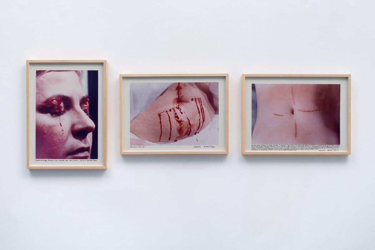 Gina PANE Action Psyché (essai), 24 janvier 1974, 1974 Three chromogenic vintage prints on laminated Kodak paper Each sheet: 40 x 29.3 cm Edition 1 of 25