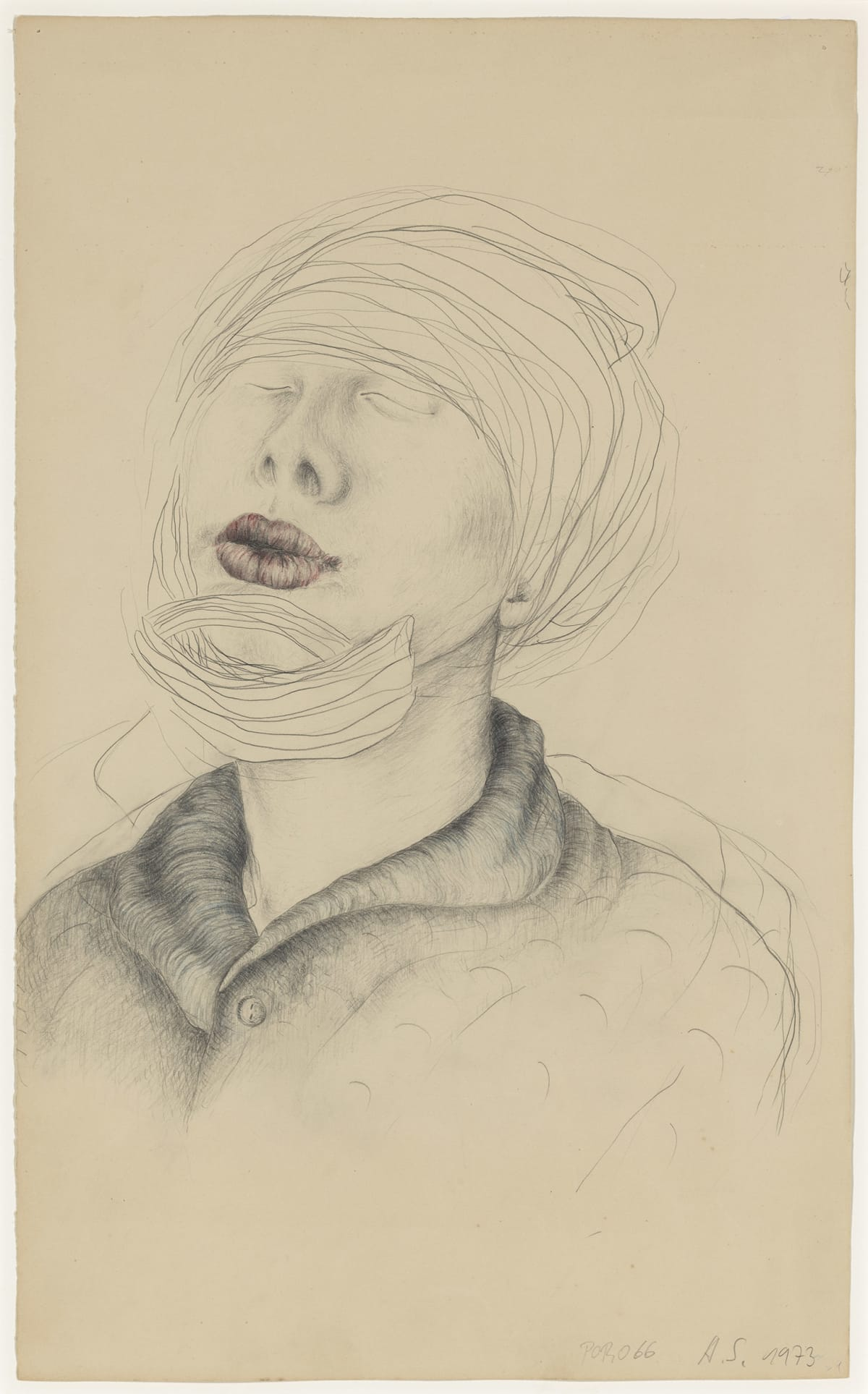 Annegret SOLTAU o.T. (mit Verband) / Untitled (with bandage), 1973 Pencil and crayon on paper Image size: 50 x 37 cm