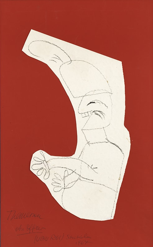 Franciszka THEMERSON An Officer, Ubu, 1964 pastel on paper, collage Framed: 65 x 46 cm Image size: 48 x 29 cm