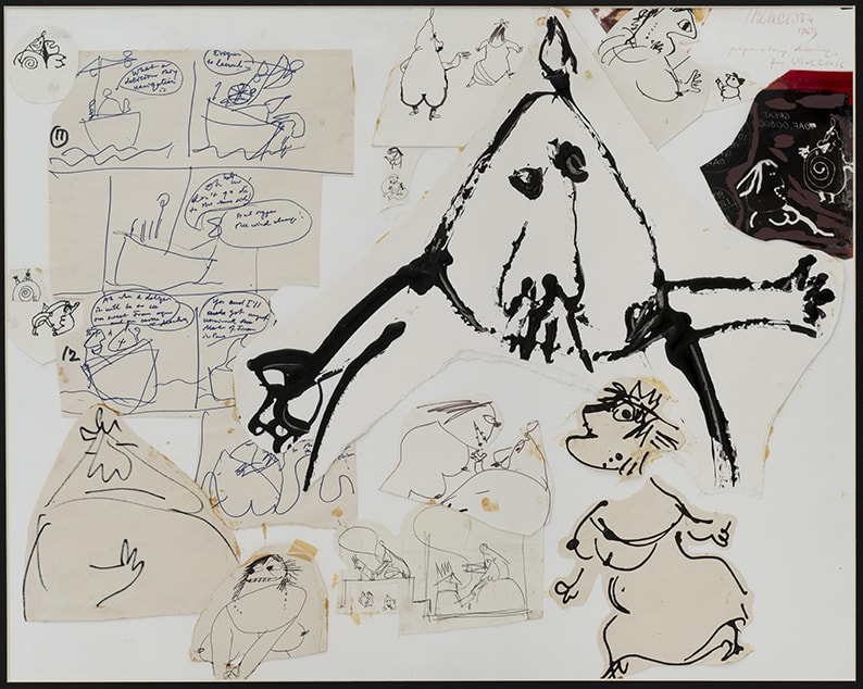 Franciszka THEMERSON Père Ubu etc, Comic Strip Studies, 1969 ink, pen and pencil on paper, collage Framed: 67 x 79 cm Inside frame: 63 x 51 cm
