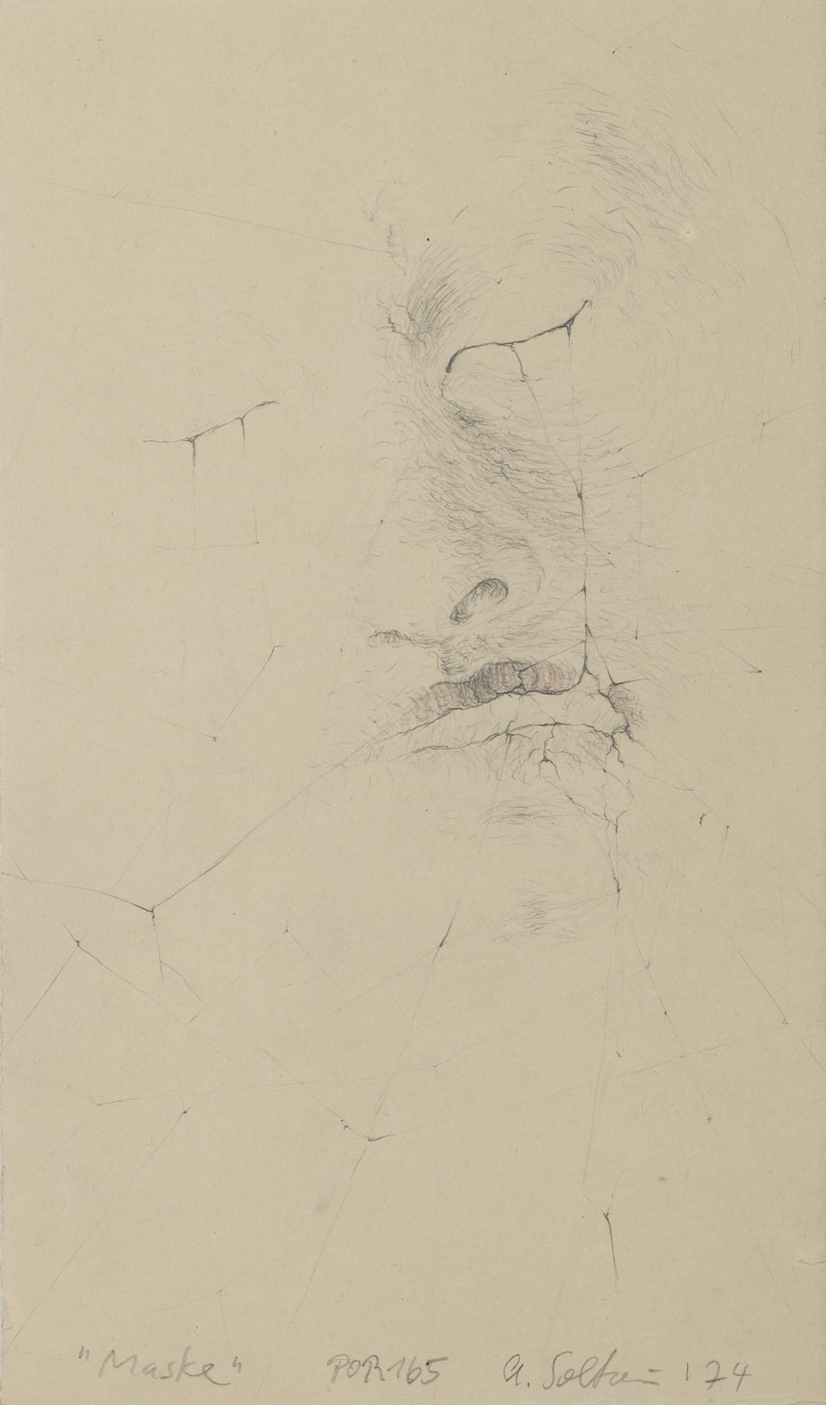 Annegret SOLTAU Maske (Selbst) / Mask (self), 1974 Pencil and crayon on paper Image size: 21 x 12.5 cm