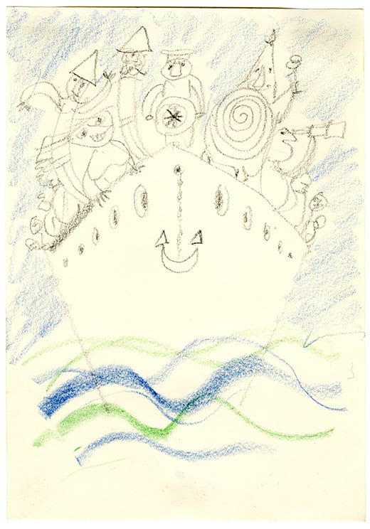 Franciszka THEMERSON UBU at Sea, Closing Scene, Stockholm, 1964 pastels on paper With mount: 42 x 35 cm Image size: 26 x 18 cm
