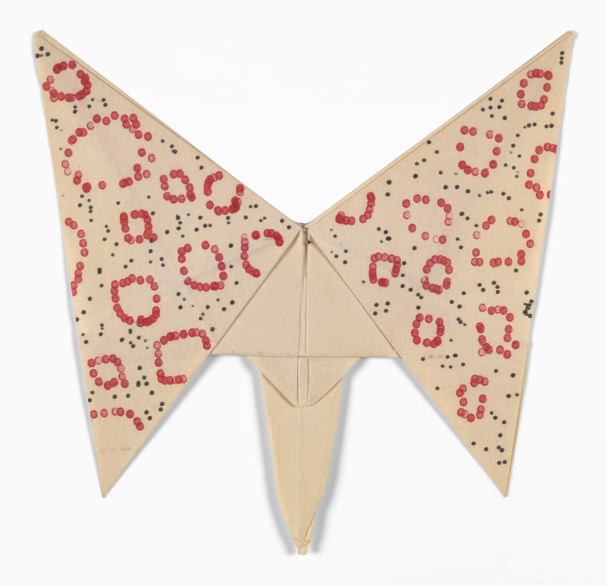 Dom Sylvester HOUEDARD Untitled [Butterfly with red o's], 1963 Paper (folded, unconventionally shaped, typed) 11.9 x 11.7 cm