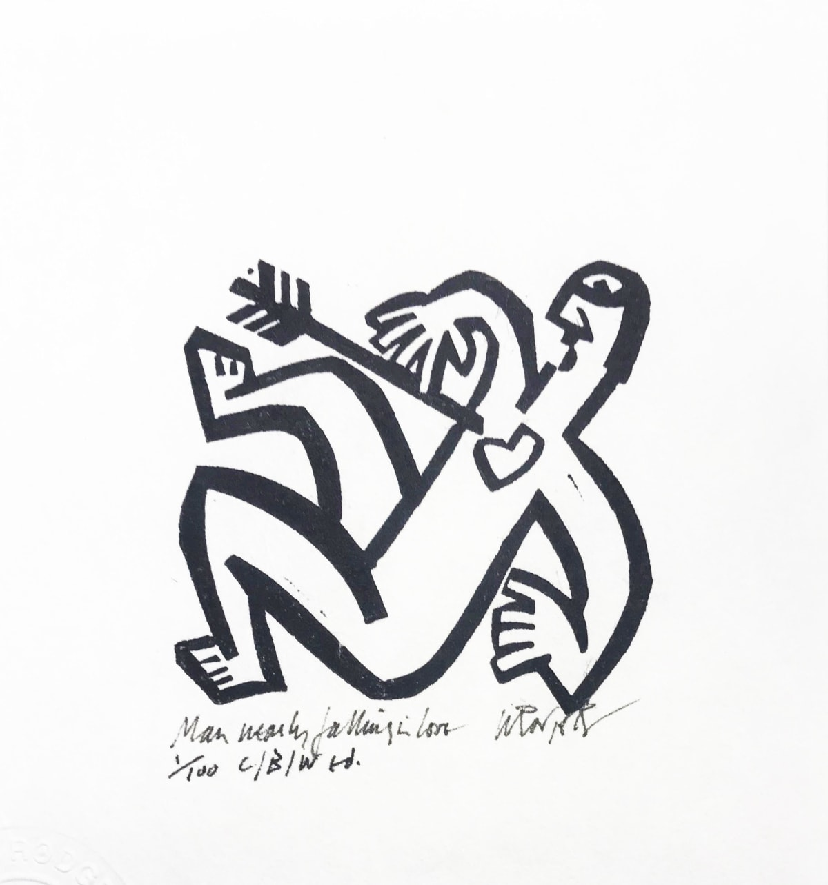 Willie Rodger RSA Man Nearly Falling in Love, 1996 Linocut on paper 6.5 x 7 cm Edition of 30