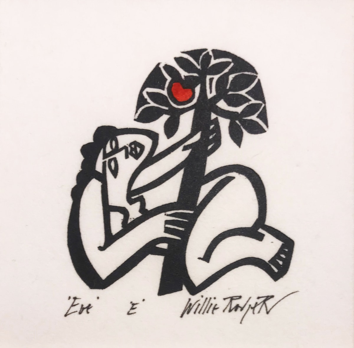 Willie Rodger RSA Eve, 1995 Linocut on paper 7 x 6.5 cm Edition of 100 plus 4 artist's proofs