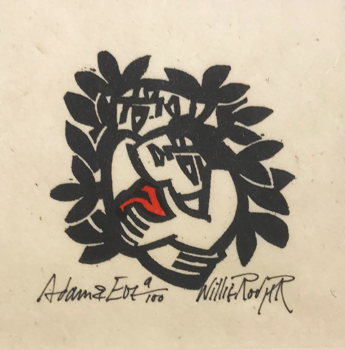 Willie Rodger RSA Adam and Eve, 1996 Linocut on paper 5.5 x 7 cm Edition of 100 plus 1 artist's proof