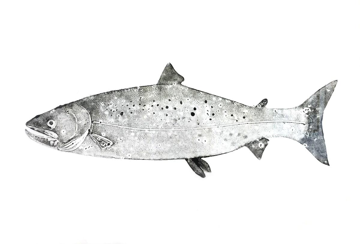 Stuart MacKenzie RSA Salmon Oil on paper 84 x 106 cm