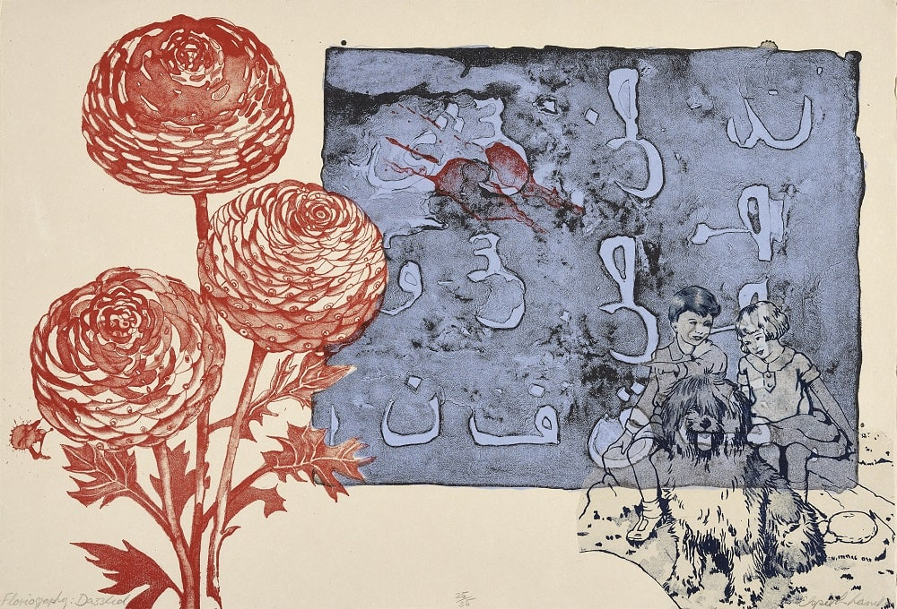 Elspeth Lamb RSA Floriography: Dazzled Stone lithograph 38 x 56 cm Edition of 35