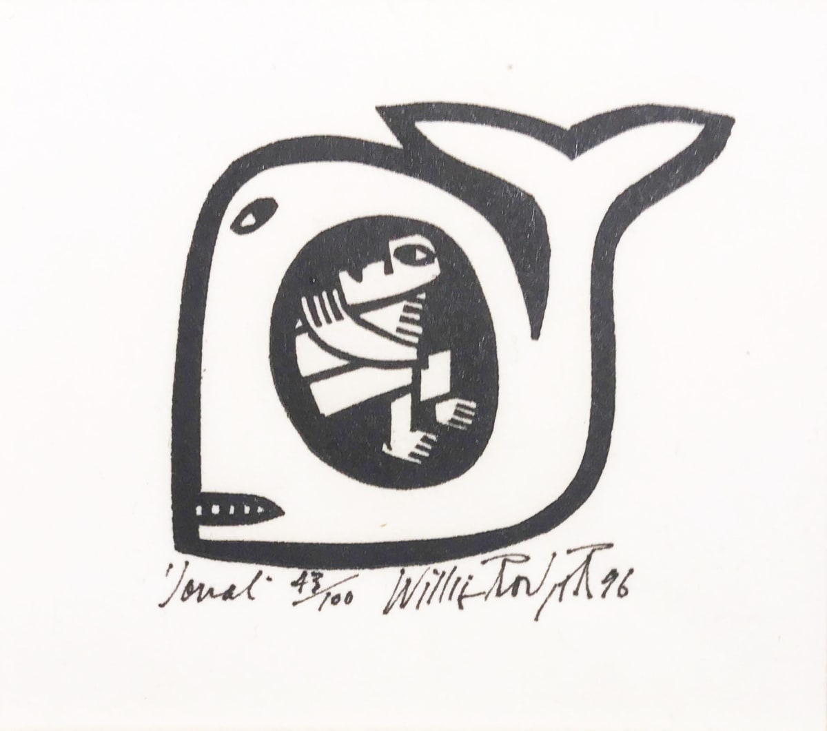 Willie Rodger RSA Jonah, 1996 Linocut on paper 5.5 x 7 cm Edition of 100
