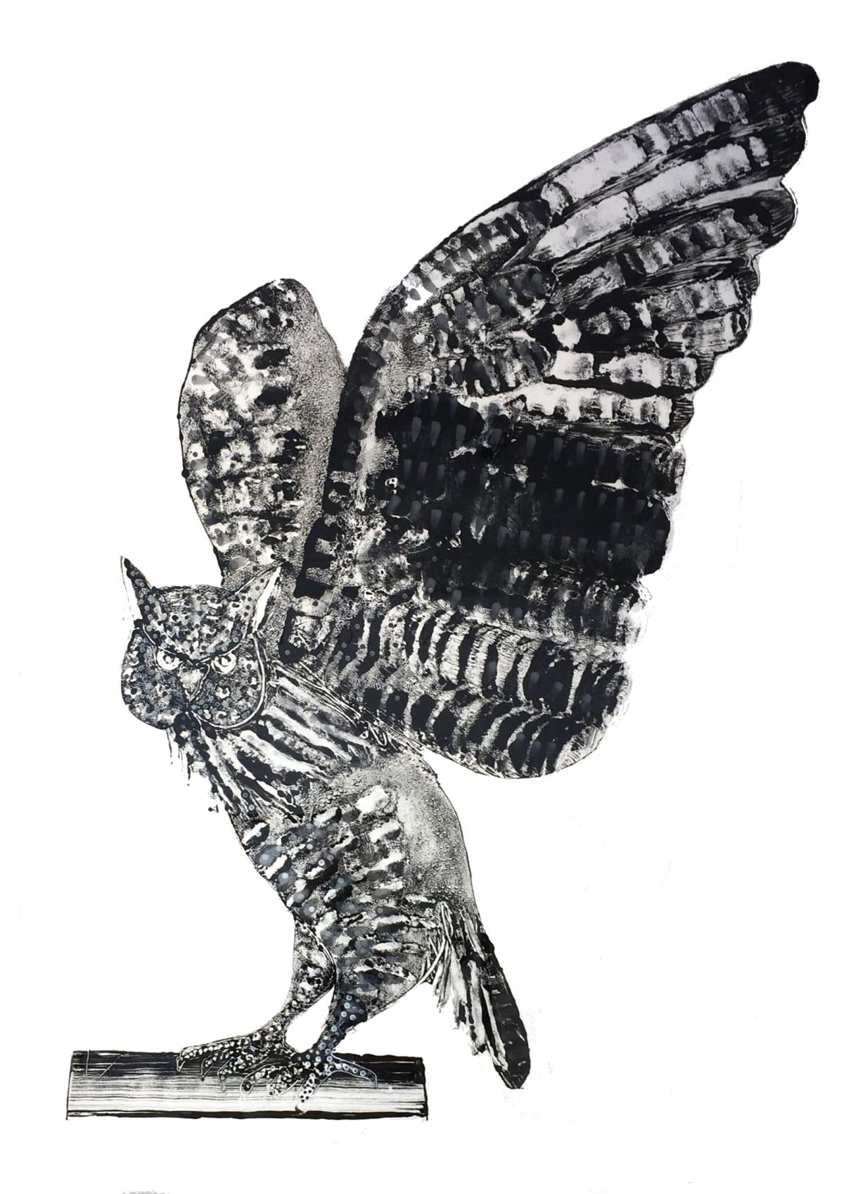Stuart MacKenzie RSA Eagle Owl II Oil on paper 106 x 84 cm