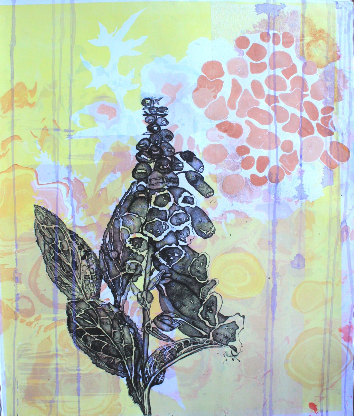 Elspeth Lamb RSA Foxglove Lithograph with collage 76 x 54 cm