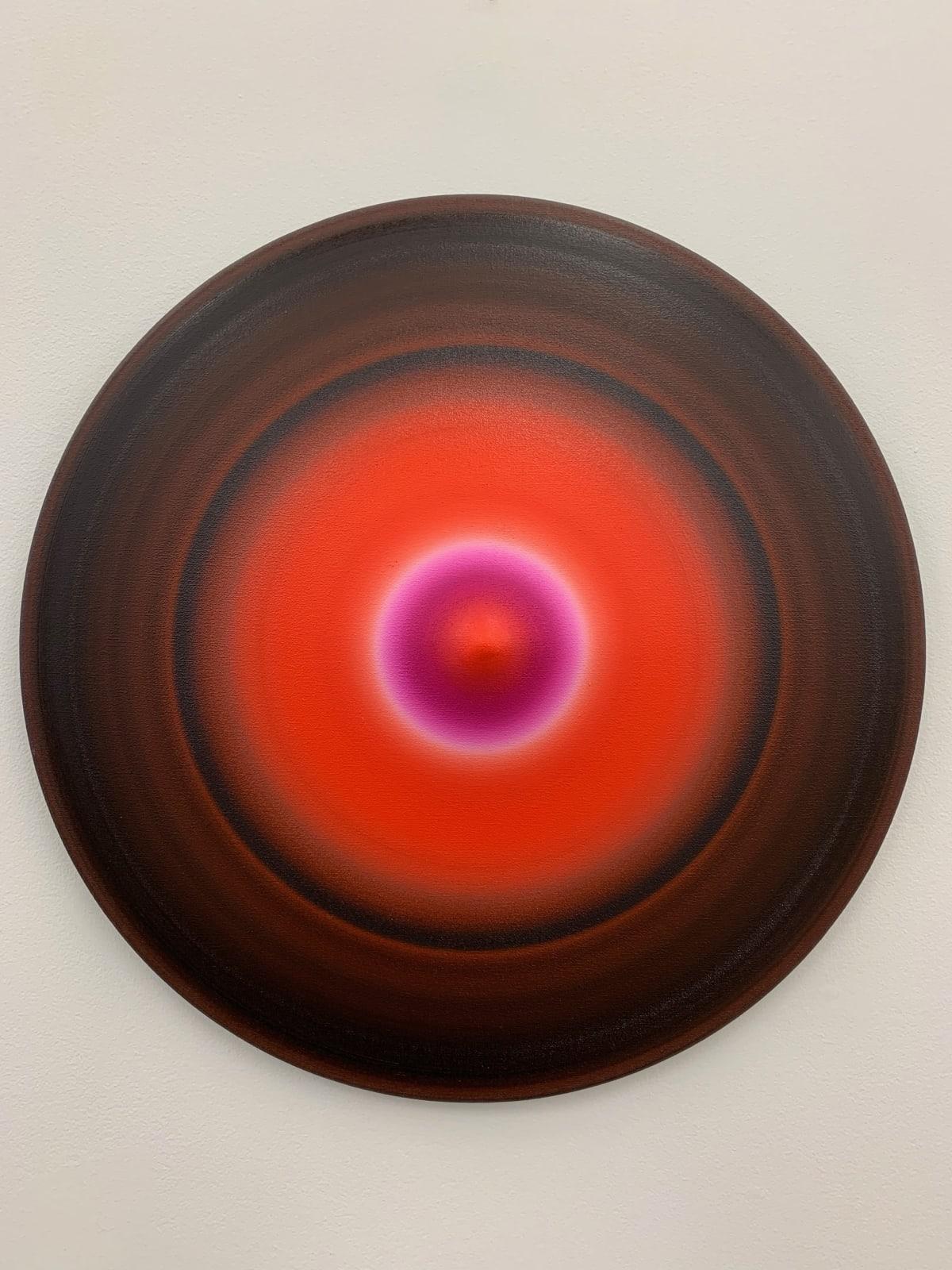 Marion Borgelt Luminous Void: Piece No 5, 2019 oil, canvas, timber, 3D element 55cm ø x 8cm
