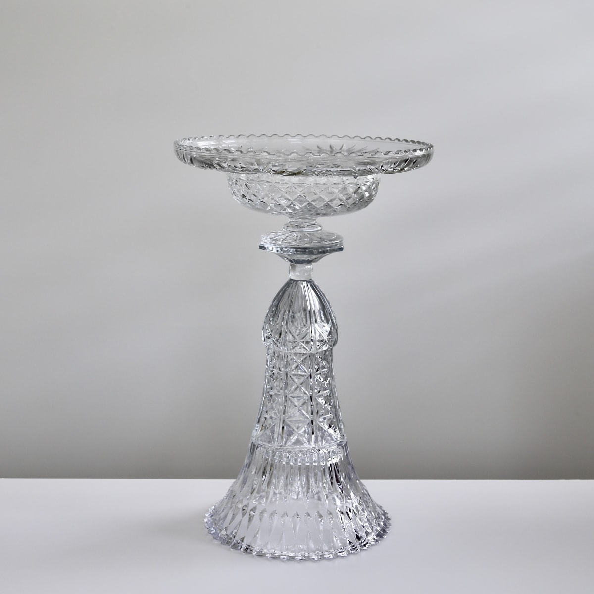 Edward Waring Champagne Table #25, 2018 Vintage Crystal and Glass, Epoxy Adhesive 34 x 53 cm