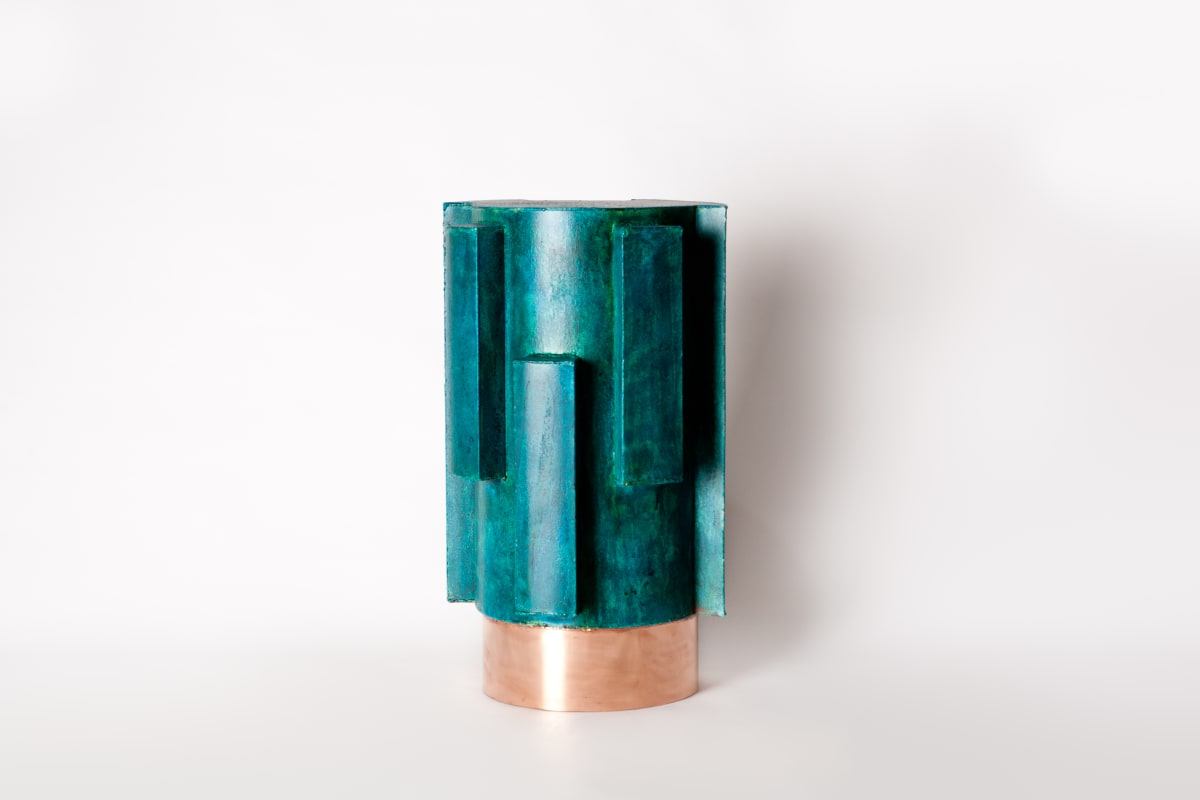 Michael Gittings Ministry of Finance Side Table, 2019 Patinated Copper, Polished Copper 60 x 30 x 30 cm