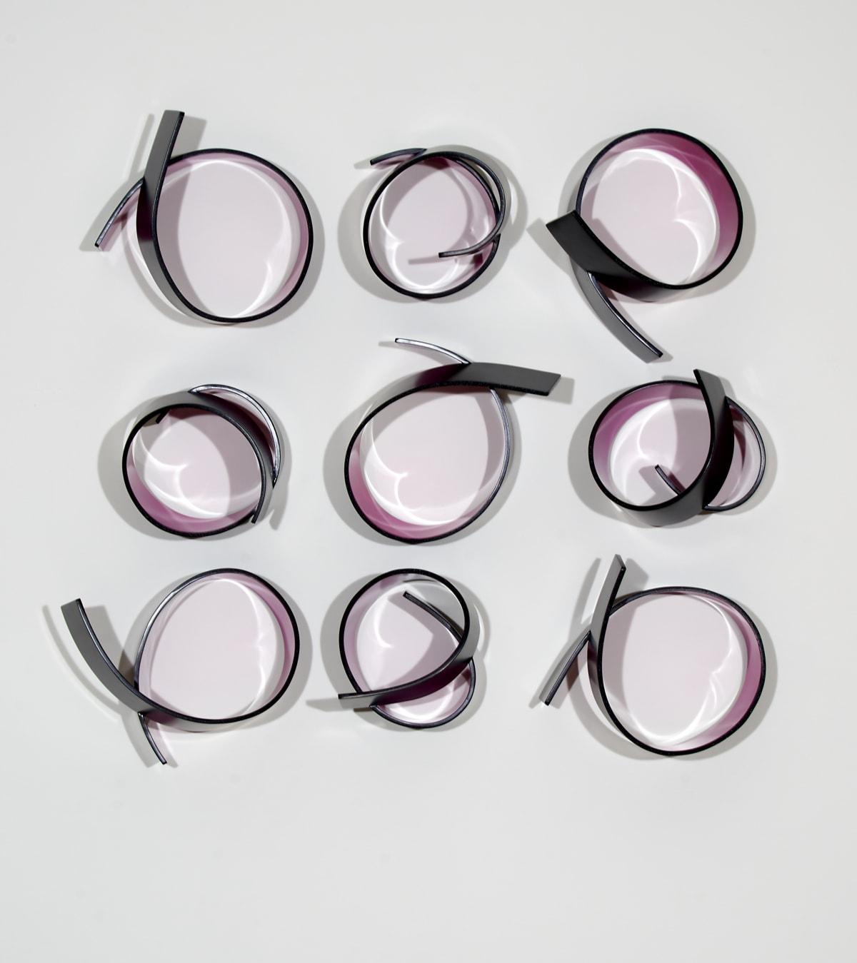 Marion Borgelt Full Circle Fuchsia No 1 (9 pieces), 2019 bending ply, polyurethane, laminate 76 x 80 x 19.5 cm