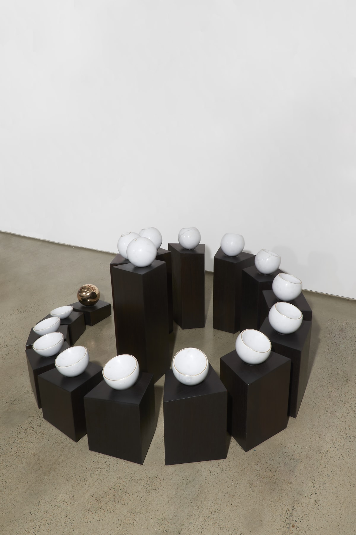 Marion Borgelt Tsukimi Variation: No. 1, 2007-08 empress white marble, (Chinese black marble or bronze sphere) gold etched rim, recycled red ironbark plinths 85 x 146 x 180 cm