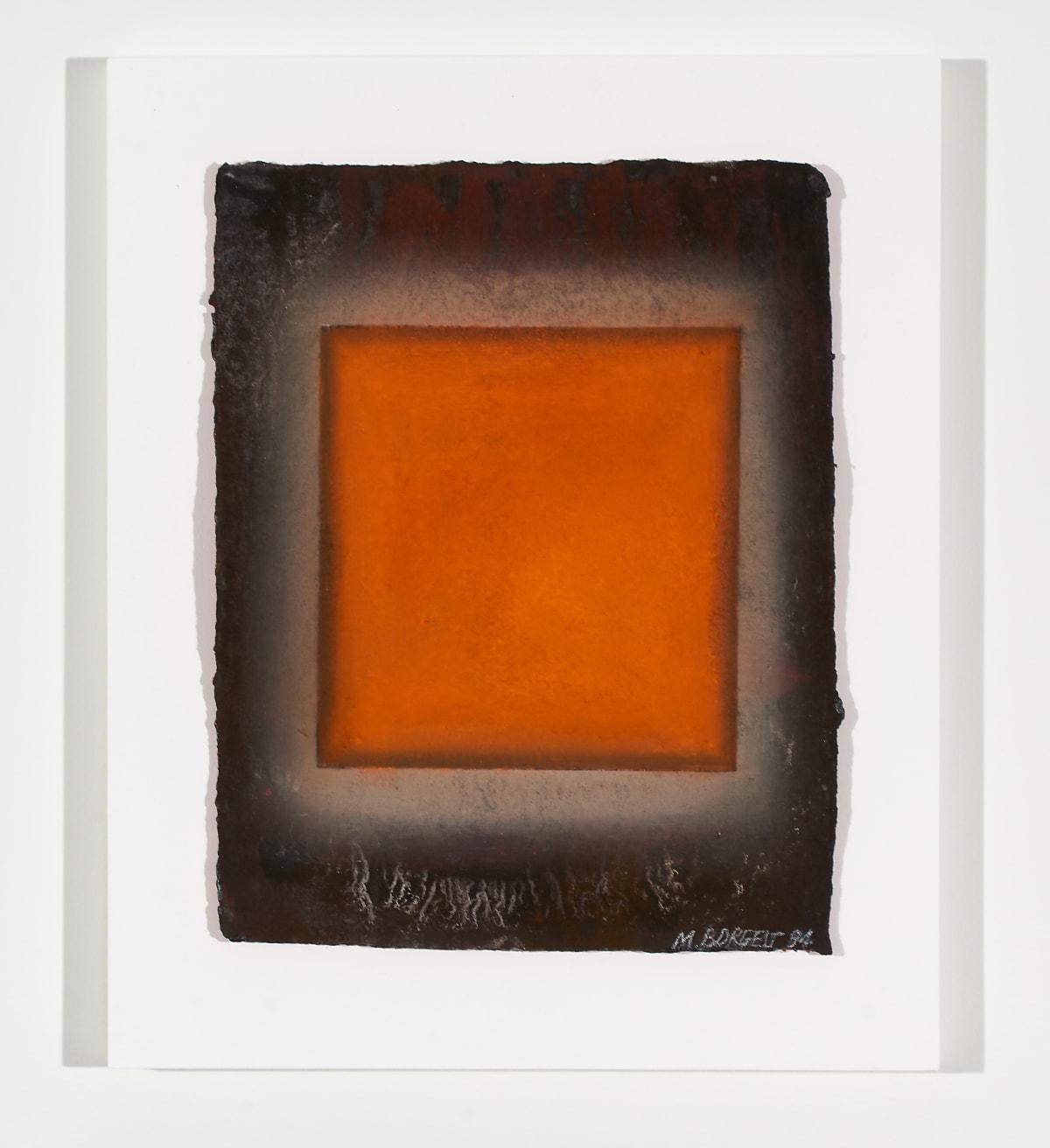 Marion Borgelt Orange Leaf: No 1, 1994 pigment on handmade paper in Perspex box 40.5 x 33.5 x 5 cm