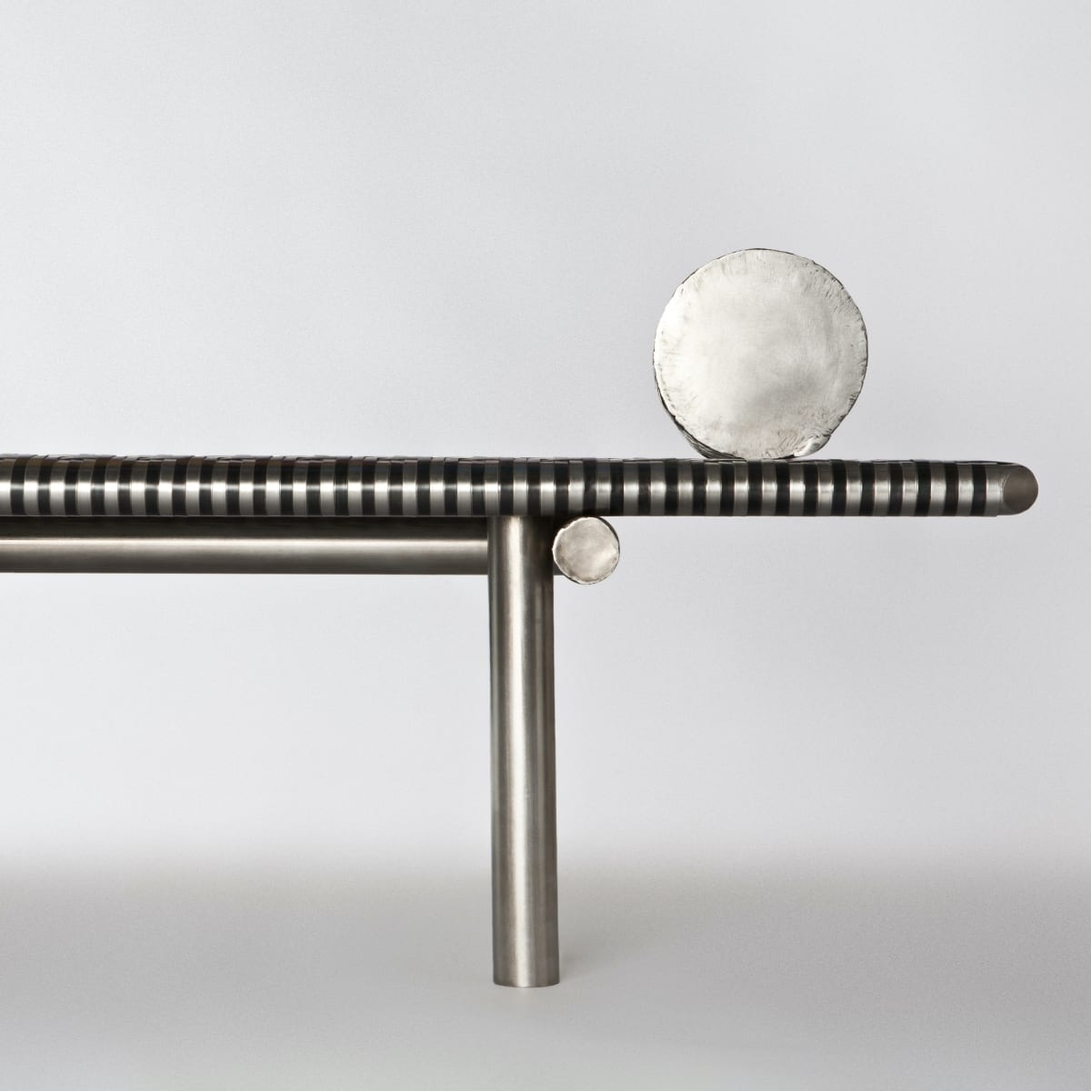 Michael Gittings Aztec Daybed, 2018 Brushed and Patinaed Stainless Steel 80 x 195 x 40 cm