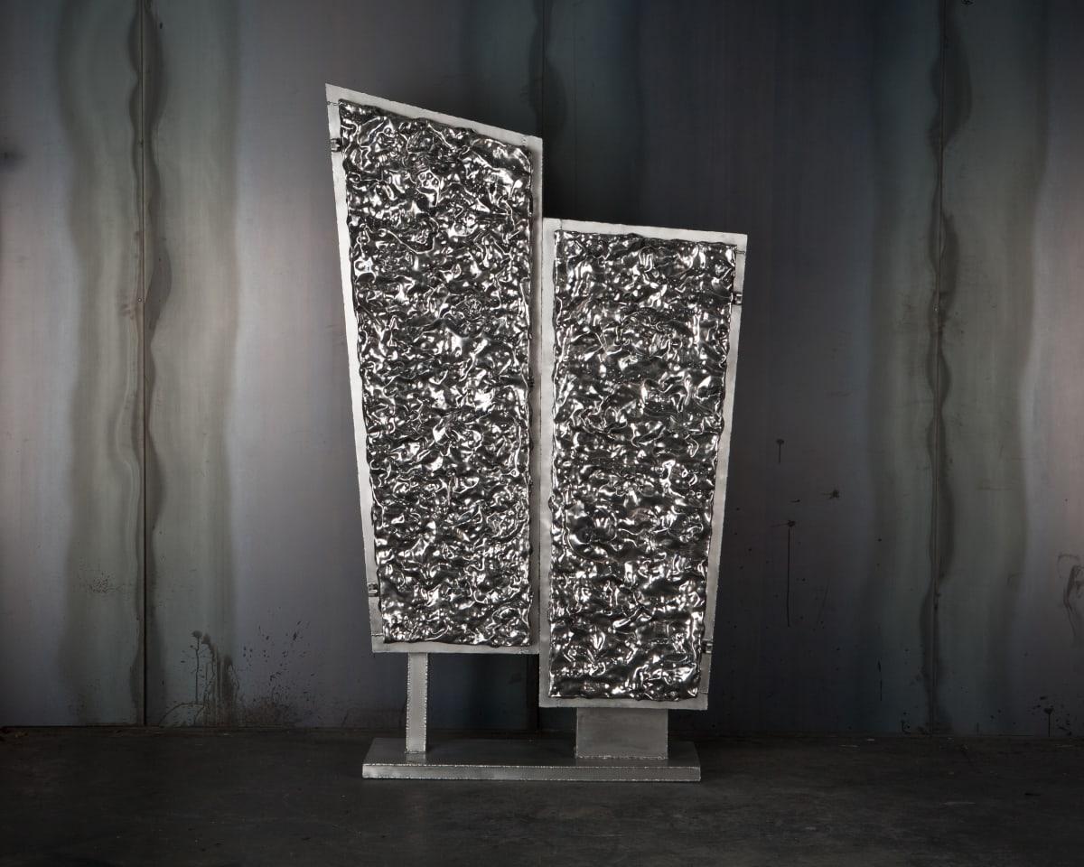 Michael Gittings Crinkle Cabinet Hand beaten polished aluminium doors, Aluminium frame 197 x 110 x 42 cm Unique