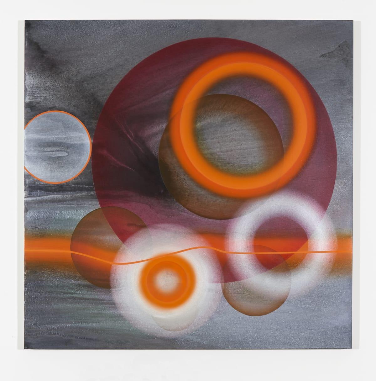 Marion Borgelt Exploding Stars with Cadmium Waves, 2019 oil, acrylic, silver leaf on canvas 120 x 120 cm