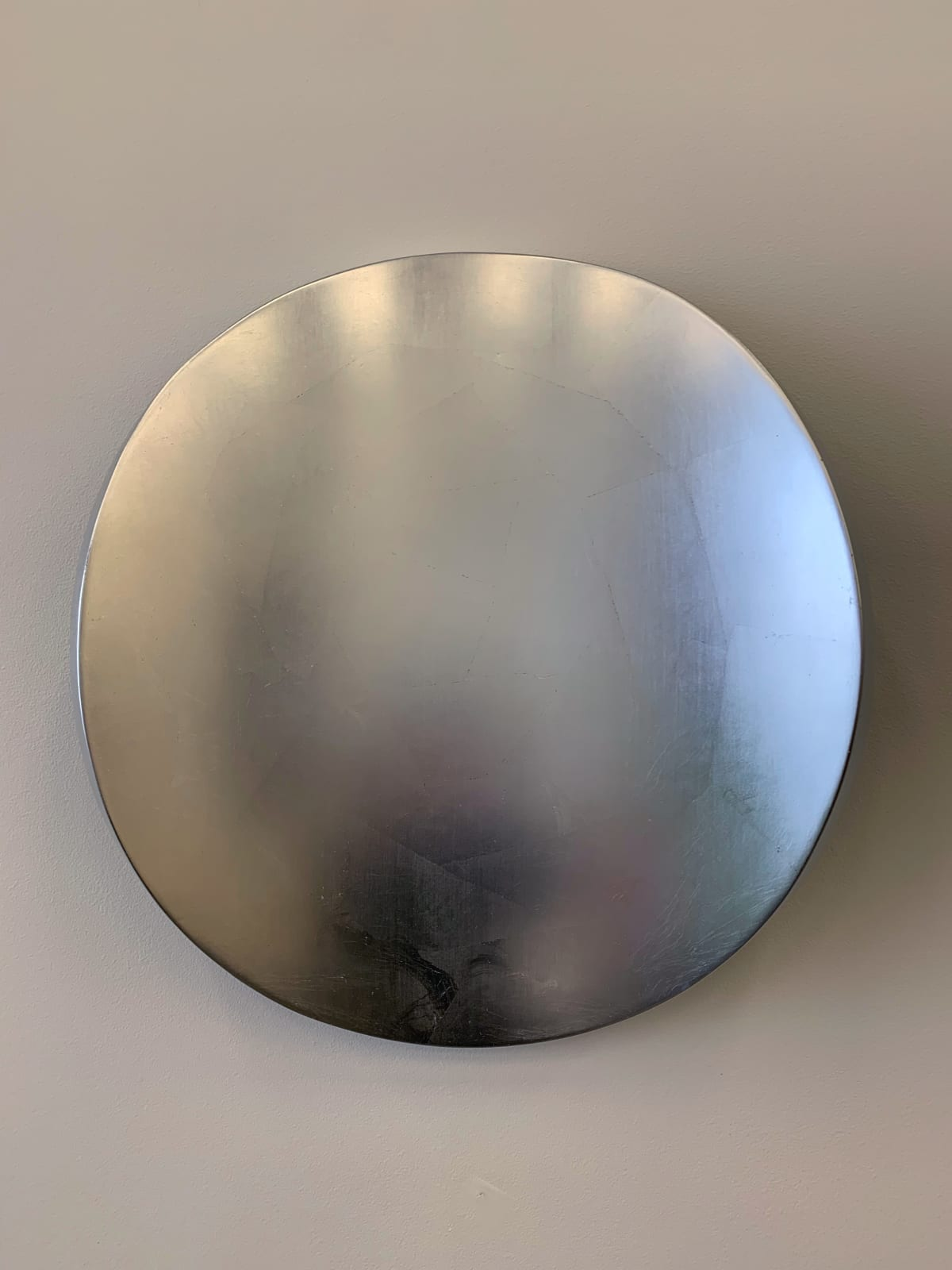 Marion Borgelt Lunar Warp: Moon No 3, 2019 Timber, dutch silver leaf, polyurethane, mirror acrylic 50 cm diameter x 11 cm deep