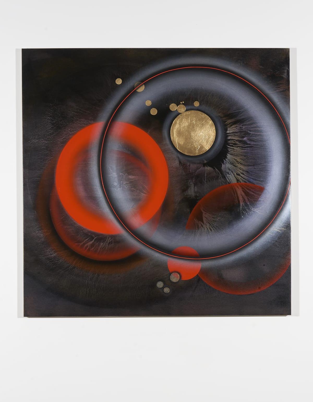Marion Borgelt Exploding Stars and Red Dwarfs, 2019 oil, acrylic, Dutch gold leaf on canvas 120 x 120 cm
