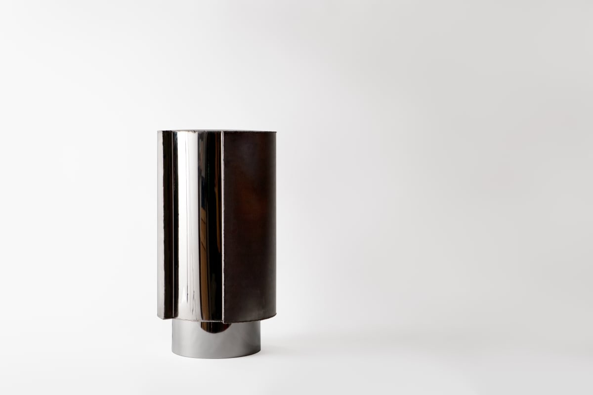 Michael Gittings Stainless Side Table, 2019 Mirror Polished and Brushed Stainless Steel 60 x 30 x 30 cm Unique Sold- Important Private Collection, Sydney