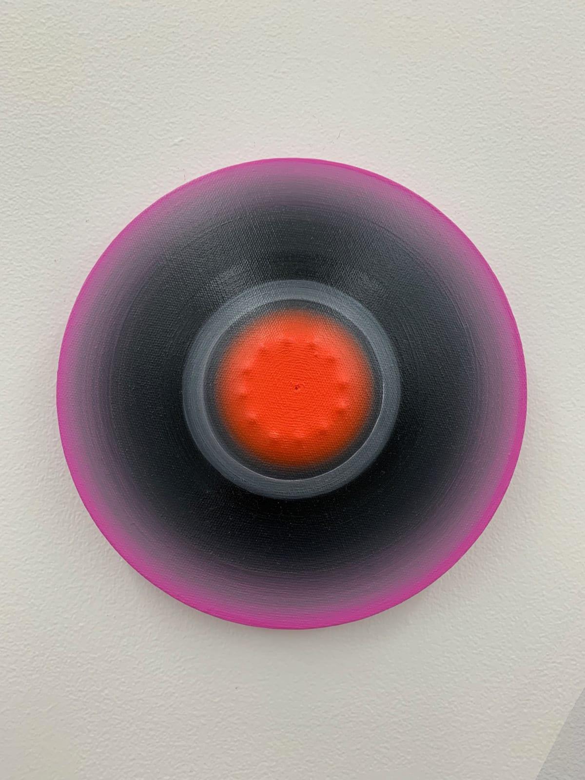 Marion Borgelt Luminous Void: Piece No 9, 2019 oil, canvas, timber, 3D element 22cm ø x 3.5cm