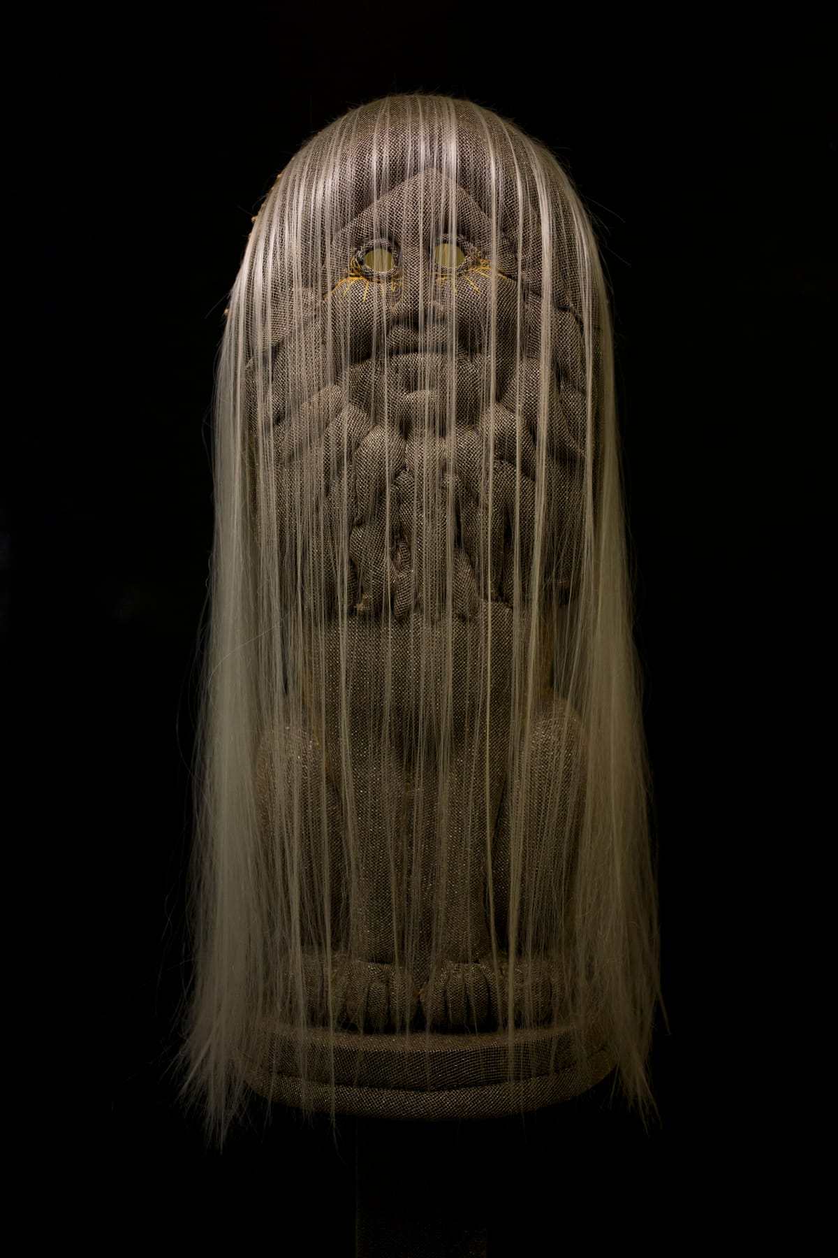 Tarryn Gill Guardian (The Lion), 2019 mixed media including EPE Foam, hand-sewn fabrics, synthetic hair, mirrors, trimming Object: 53 x 23 x 22 cm Plinth: 126 x 34 x 34 cm Overall Hight: 179cm
