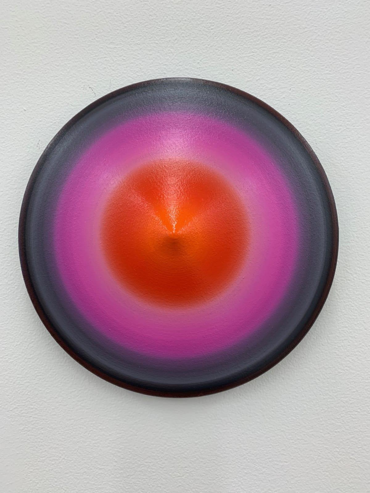 Marion Borgelt Luminous Void: Piece No 6, 2019 oil, canvas, timber, 3D element 25cm ø x 5cm