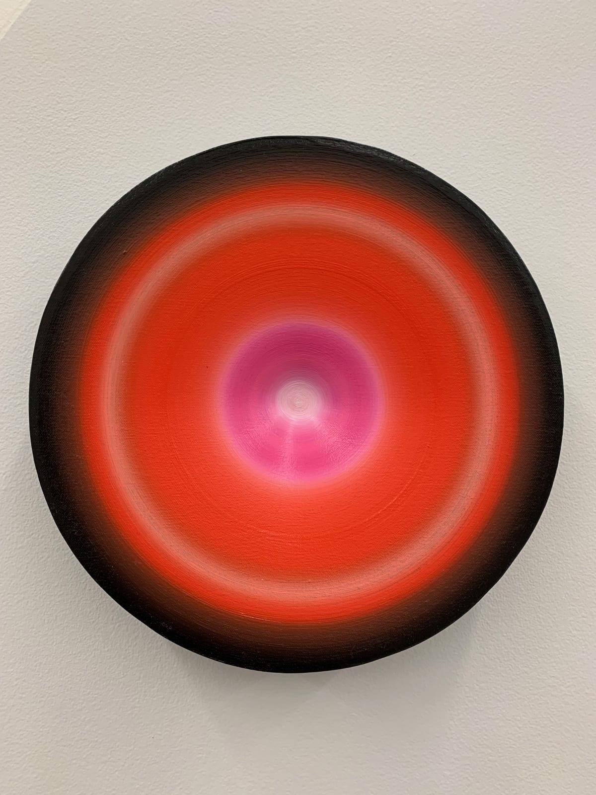 Marion Borgelt Luminous Void: Piece No 10, 2019 oil, canvas, timber, 3D element 31.3cm ø x 6cm