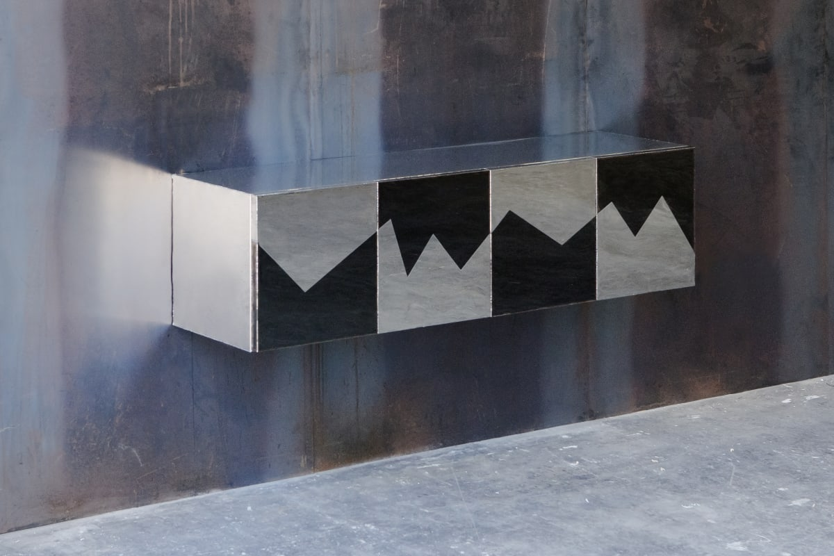 Michael Gittings Wild Fluctuations Hanging Cabinet, 2019 Stainless Steel, MDF 47 x 40 x 180 cm Unique
