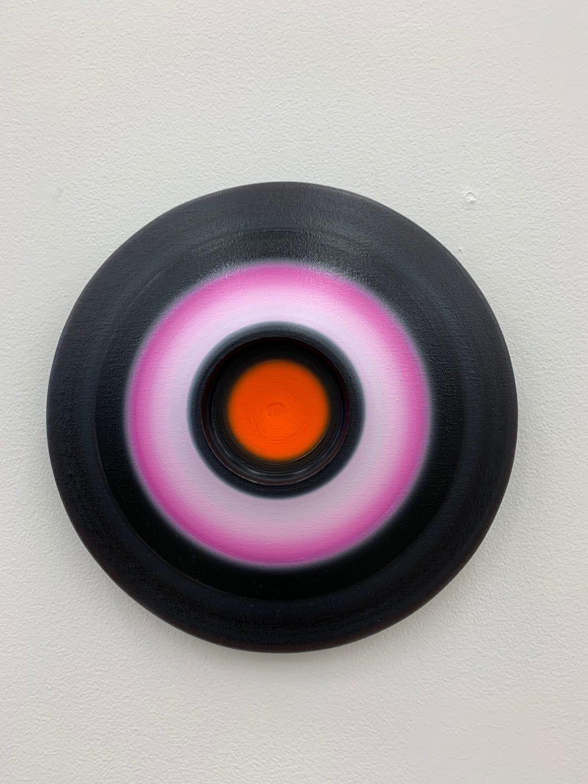 Marion Borgelt Luminous Void: Piece No 3, 2019 oil, canvas, timber, 3D element 27cm ø x 4.5cm