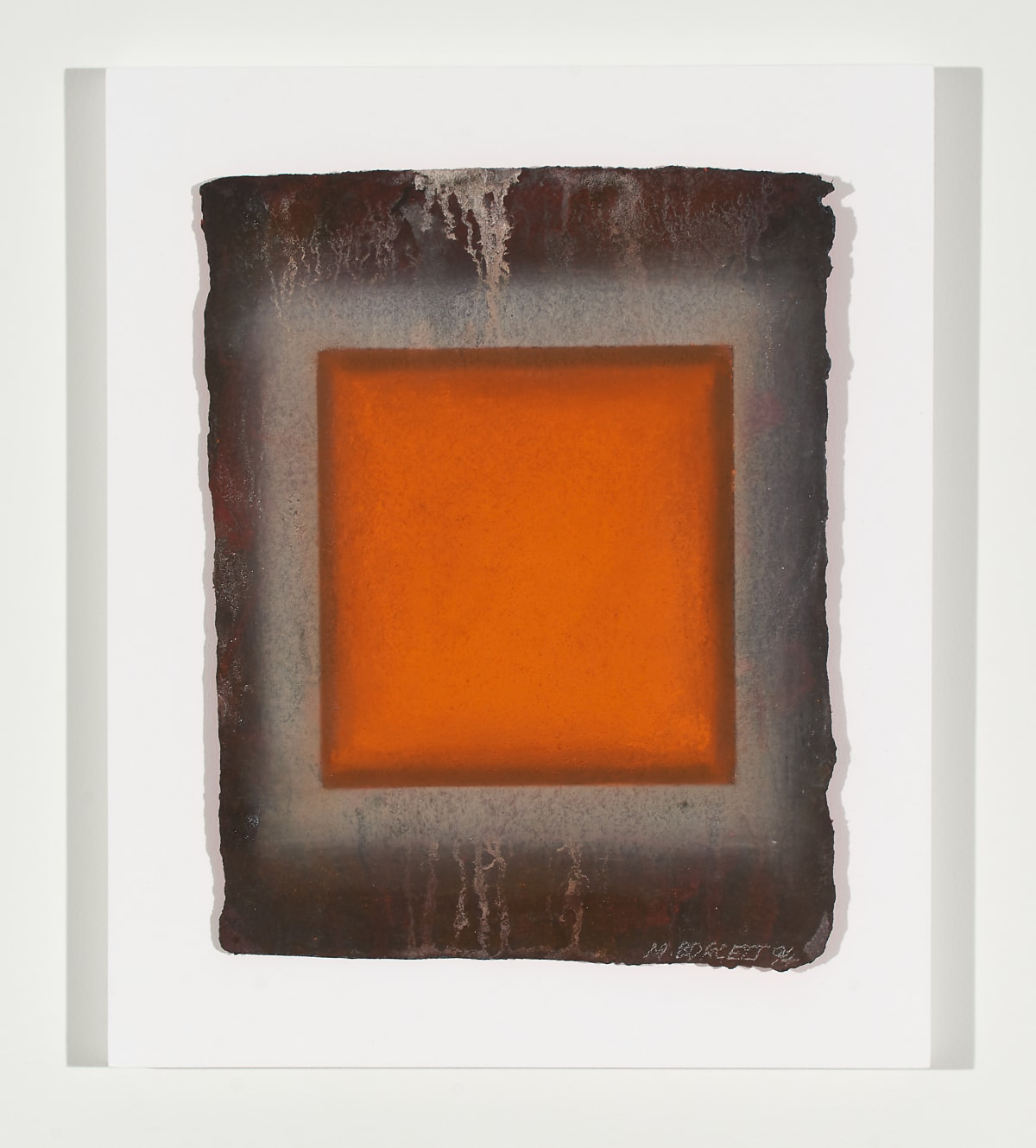 Marion Borgelt Orange Leaf: No 3, 1994 pigment on handmade paper in Perspex box 40.5 x 33.5 x 5 cm