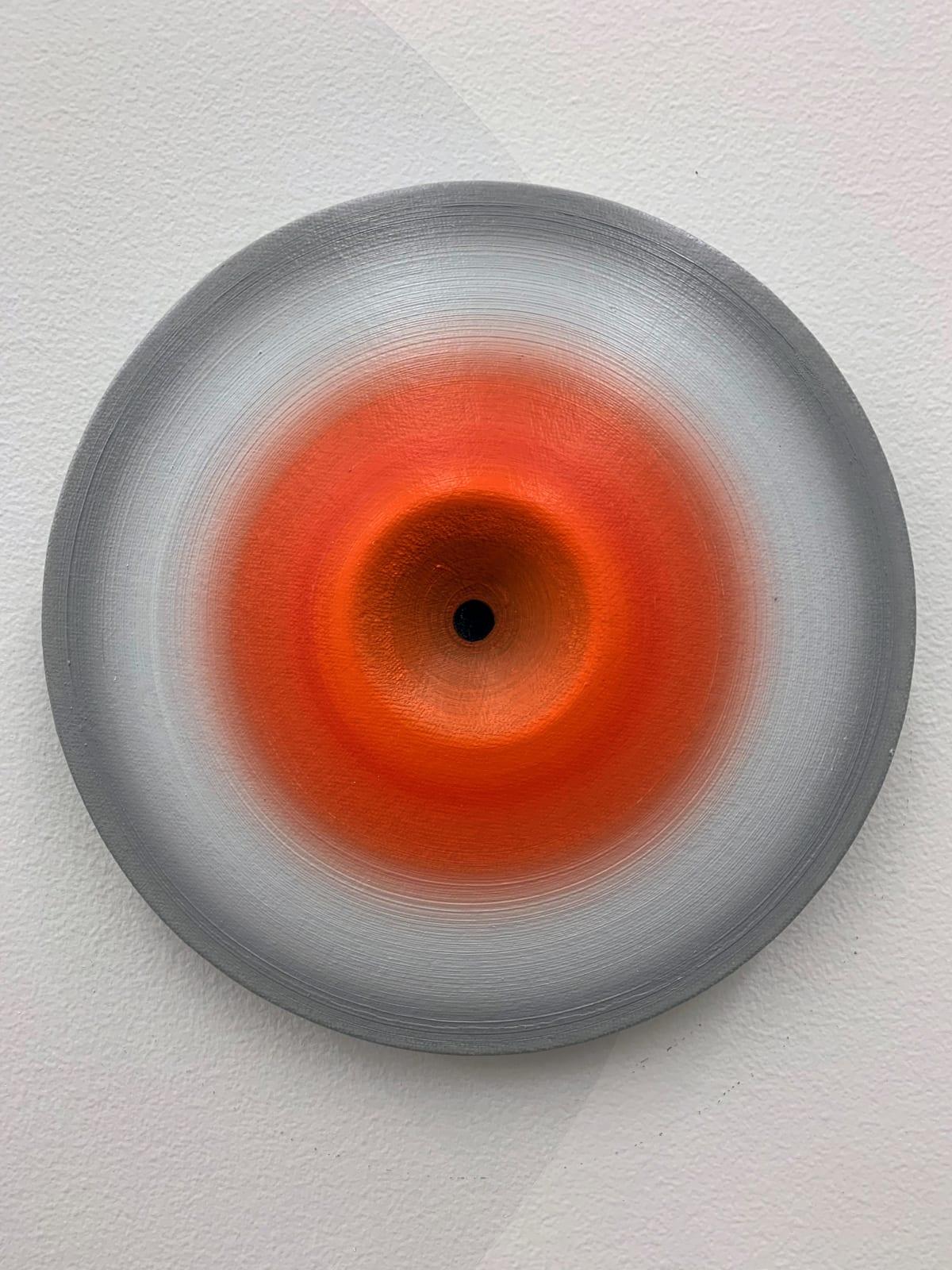 Marion Borgelt Luminous Void: Piece No 22, 2019 oil, canvas, timber, 3D element 20cm ø x 3cm